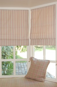 Close up of roman blinds.