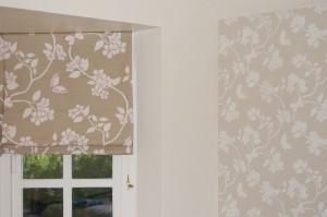 Wallpaper to match roman blinds.