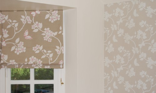 Curtains Ideas curtains matching wallpaper : Diana Murray Interiors Bedroom with roman blinds and window seat ...