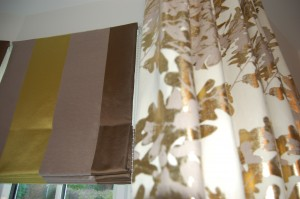Close up of roman blind and curtain from the same Designer's Guild fabric range.