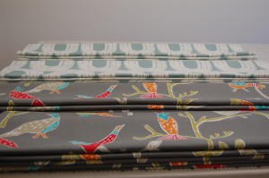 Roman blinds made by Diana Murray Interiors in Scion by Harlequin