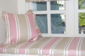 Window seat cushion made in Vanessa Arbuthnott fabric
