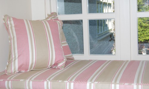 Window seat cushion in Vanessa Arbuthnott fabric